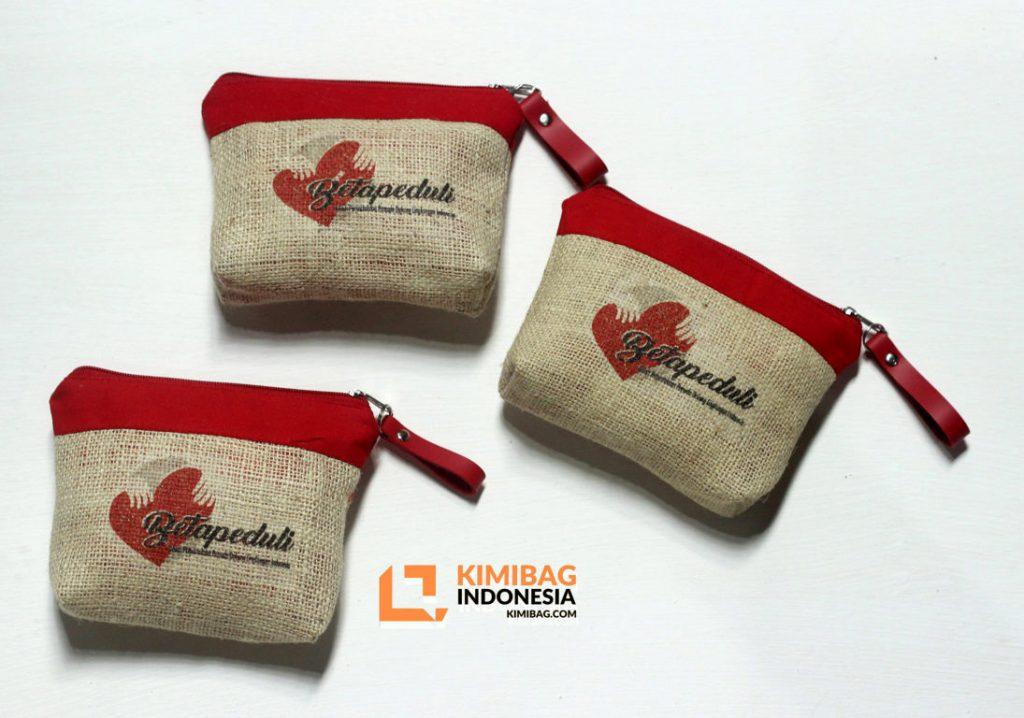 Aksi Peduli | Custom Jute Burlap Wallet Souvenir