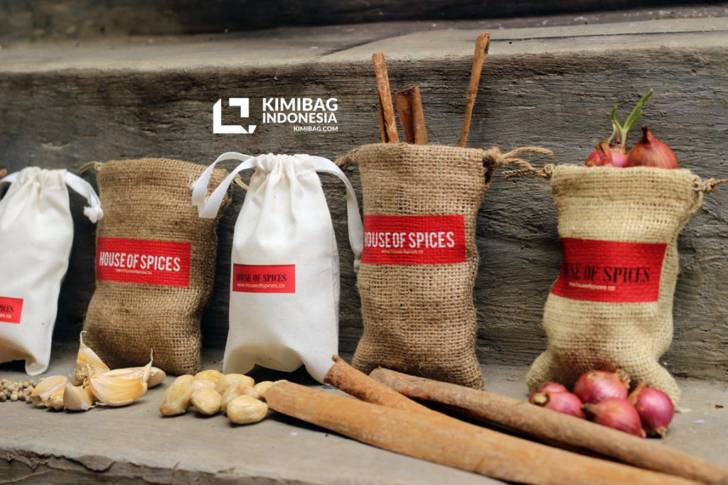 natural burlap and canvas spices pouch
