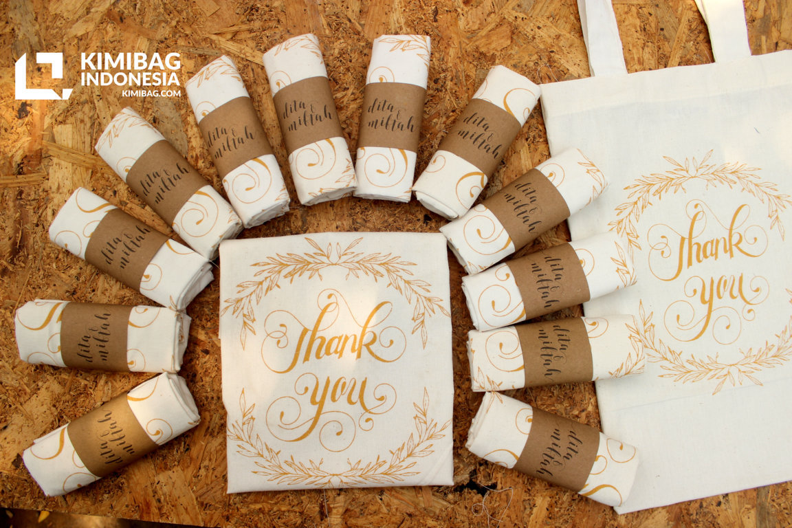 KIMIBAG INDONESIA - GOLD THANK YOU CANVAS TOTE BAG WEDDING FAVOR - TOTE AND FOLDING PACK KIMIBAG INDONESIA